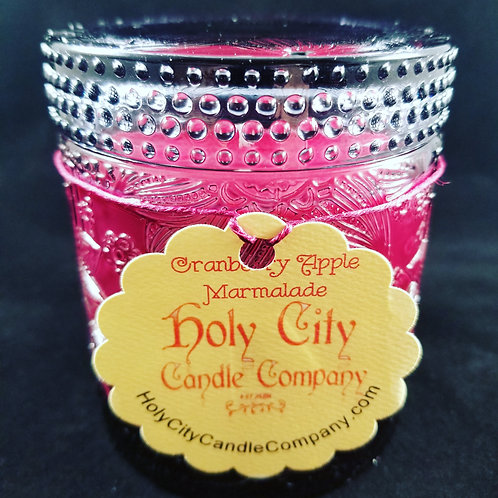 Cranberry Apple Marmalade 11 oz fluid black frost glass jar with removable lid