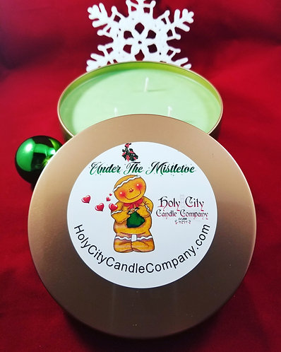 Under the Mistletoe,  14 oz large 3 wick copper tin with lid