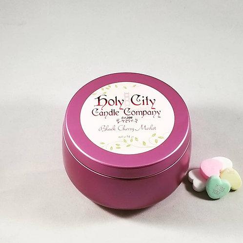 Black Cherry Merlot one wick 8oz gloss pink tin