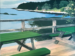 Green Picnic Tables