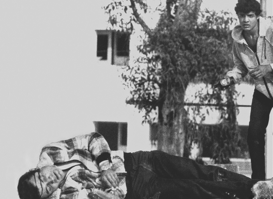 Shimon Yehoshua bleeding on the roof of his house
