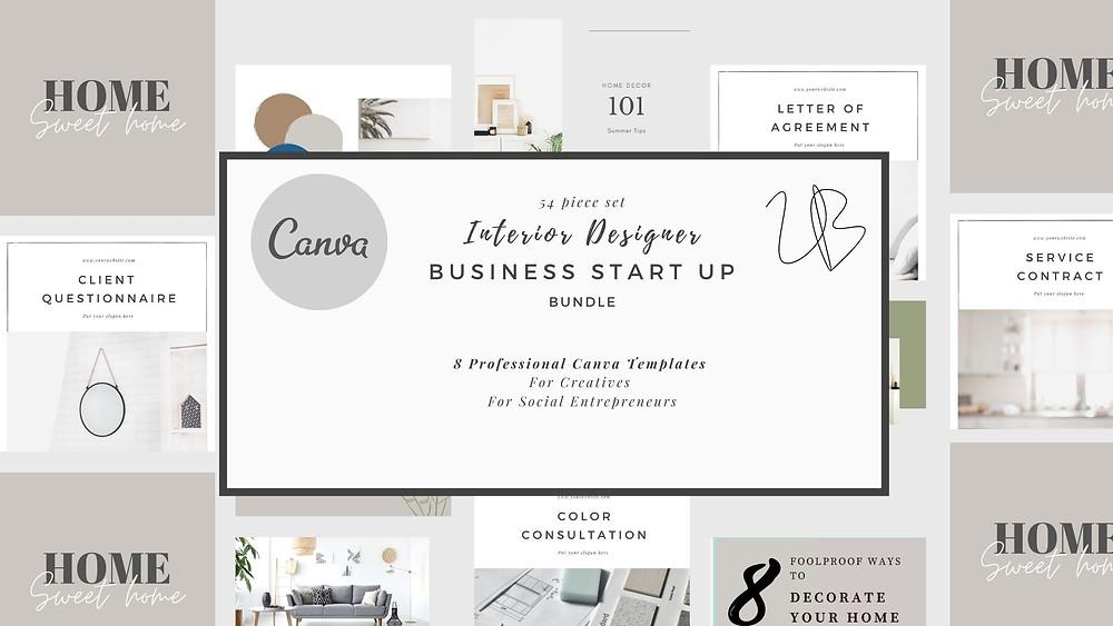 Interior Design Business Start Up Pack, Canva template, Interior Design template, Interior Designer Bundle, Online Interior Design