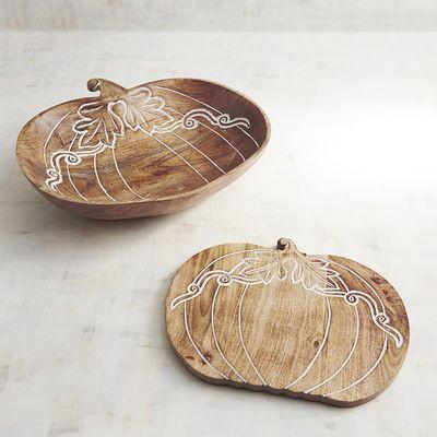Wood Pumpkin Wood Serveware
