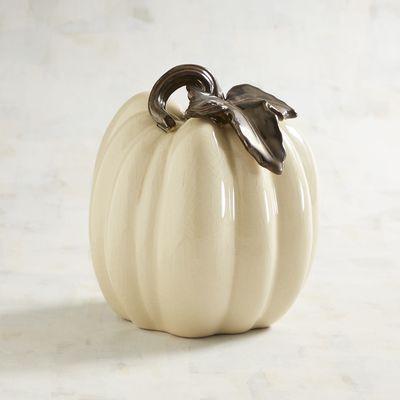 Small White Ceramic Pumpkin   Pier 1 Imports