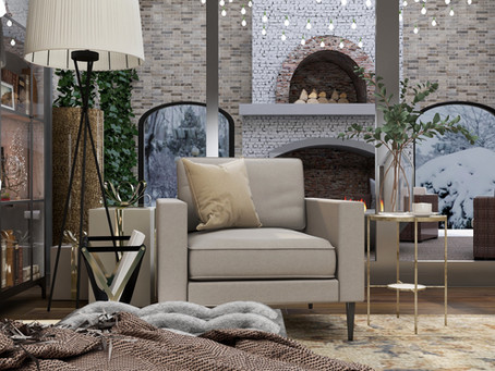 #Shopthelook Duo Living Room and Office | Christmas Rendered | Lauren Ashley Design