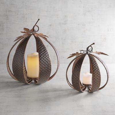 Copper Pumpkin Tealight Candle Holder