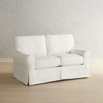 Lia White Slipcovered Loveseat | Pier 1 Imports