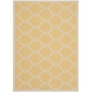 Indoor / Outdoor Yellow and Beige Power Loomed Polypropylene Transitional Rug