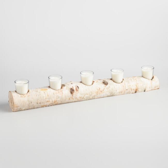 5 Votive Candle Birch Branch Centerpiece