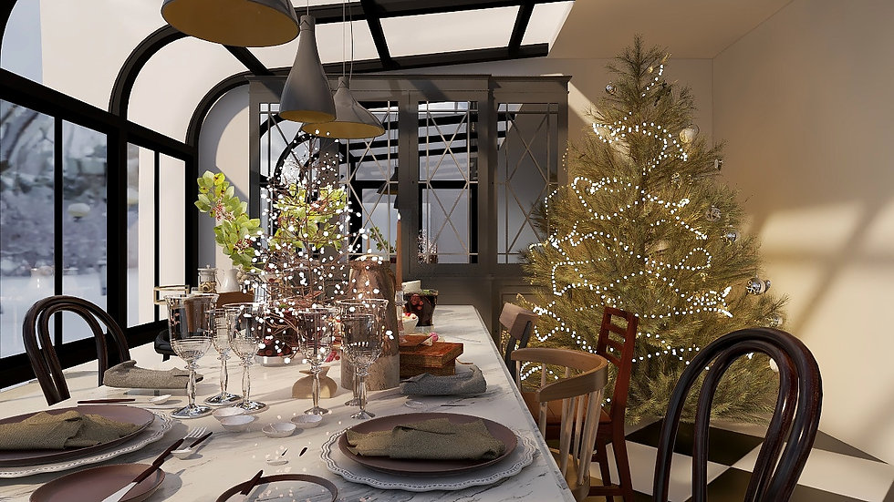 3D Rendered Christmas Dining Room