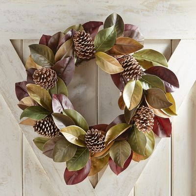 "Gilded Faux Magnolia & Pinecone 22"" Wreath"