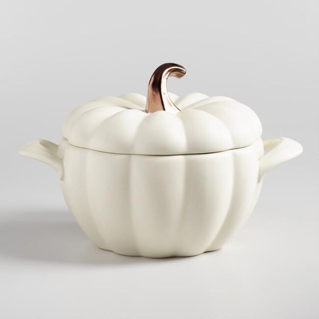 Matte White Ceramic Pumpkin Casserole Baker
