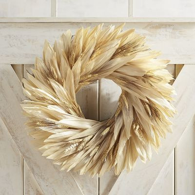 "Preserved Wheat & Cornhusk 22"" Wreath"