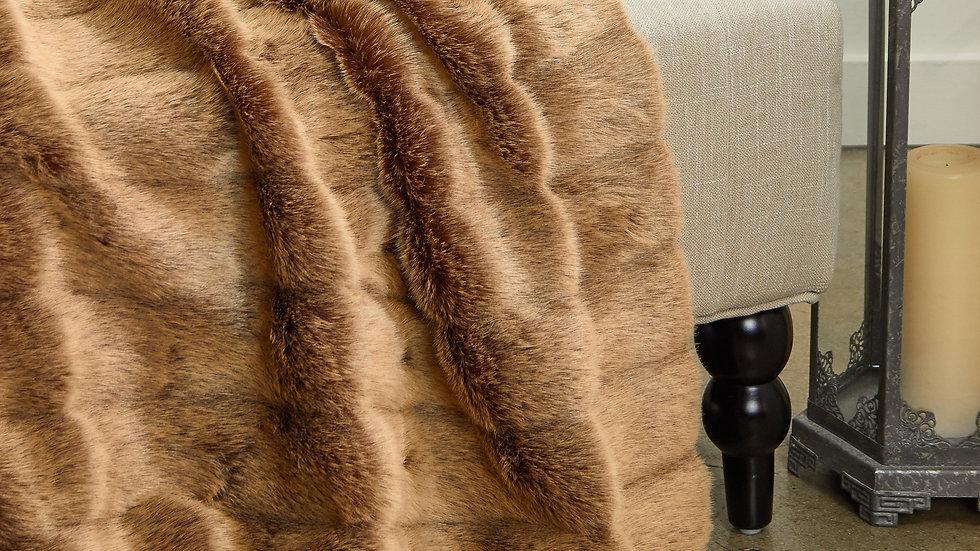 Frost Mink Light Brown Faux Fur Luxury Throw