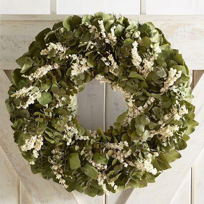 """Preserved Green & White Eucalyptus 22"""" Wreath   Pier 1 Imports"""