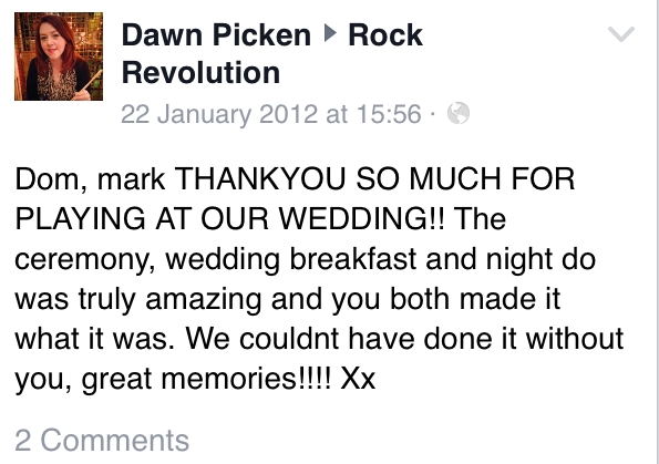 Rock Revolution. North West Wedding