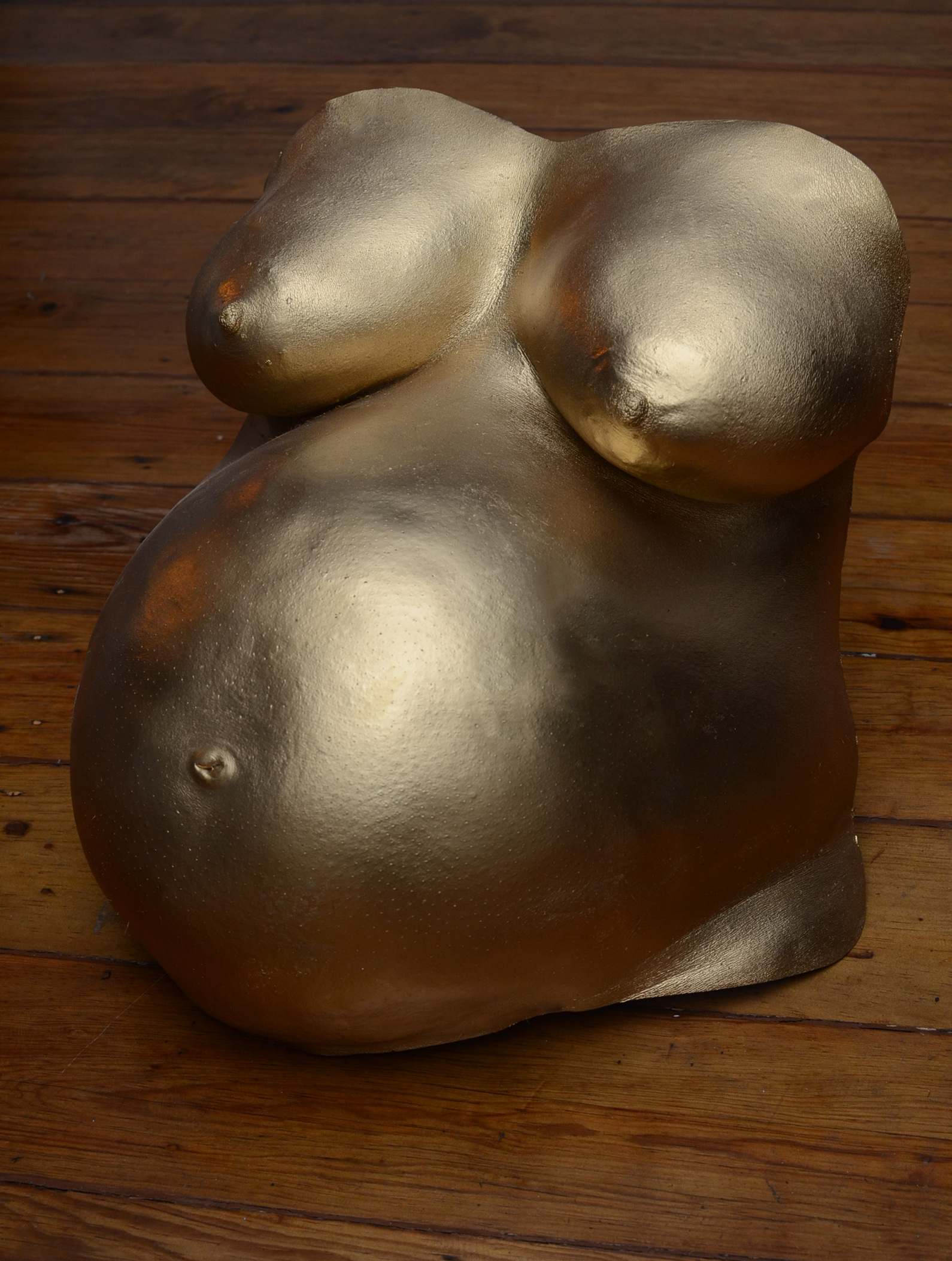 Chest and tummy in gold finish.