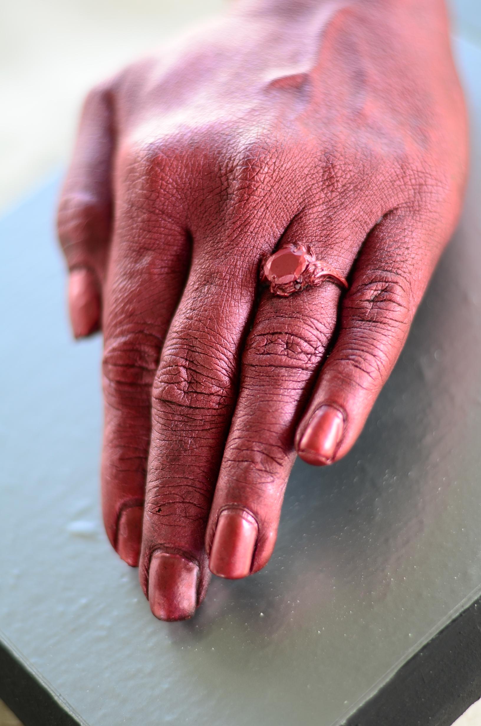 Close up of hand cast