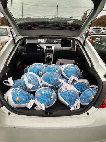 Trunk O' Turkeys for Thanksgiving Baskets