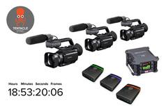 3 cámaras PX70 + 3 Tentacle Timecode Sync E + ZOOM F6  todo sincronizado con código de tiempo