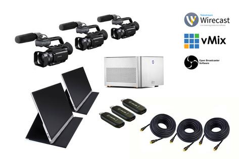 "3 cámaras PX70 con cableado + Ordenador PC Edición a tiempo real + 2 Pantallas 15"" + 3 capturadoras"