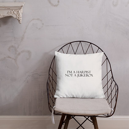 I'm a HARPIST not a JUKEBOX - White and black Premium Pillow