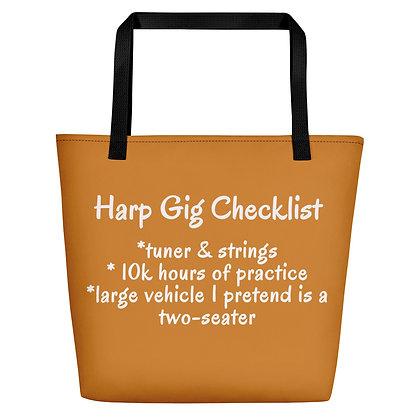 Funny Harp Checklist Gig / Beach Bag Wood-Colored