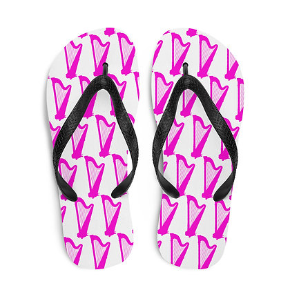 Hot Pink and White Pedal Harp Flip-Flops copy