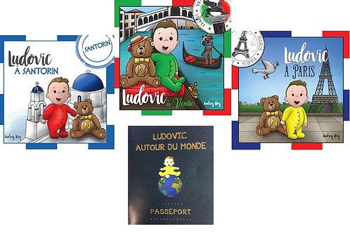 Les trois premiers livres de la collection et le passeport