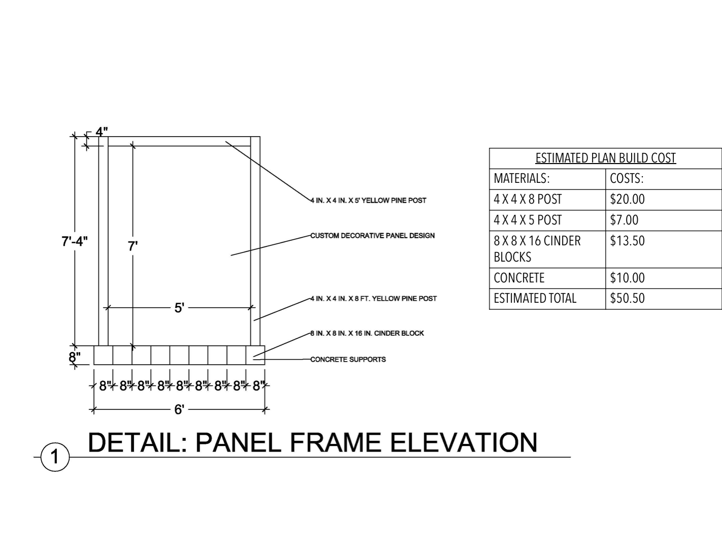 Panel Frame Elevation