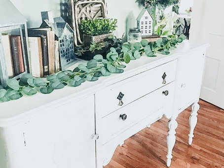 Antique Buffet Makeover & Turned Into Entertainment Center