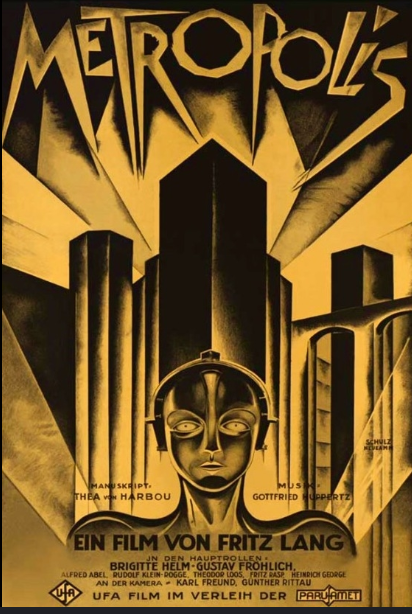 Image of movie poster for metropolis. Image features a drawing of a robot against the backdrop of skyscrapers.