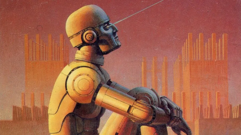 Image of an artistic rendering of a robot looking up at the sky.
