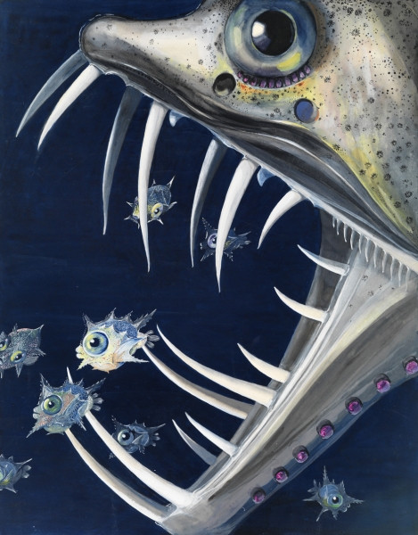 Else Bostelmann A Saber-Toothed Viperfish Attacking Young Ocean Sunfish, ca. 1934.