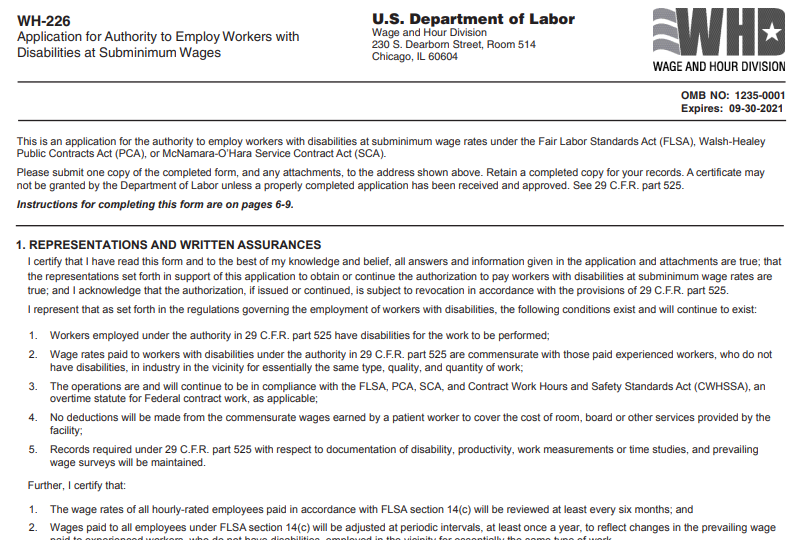 a screenshot of the document allowing employers to hire disabled workers under the minimum wage
