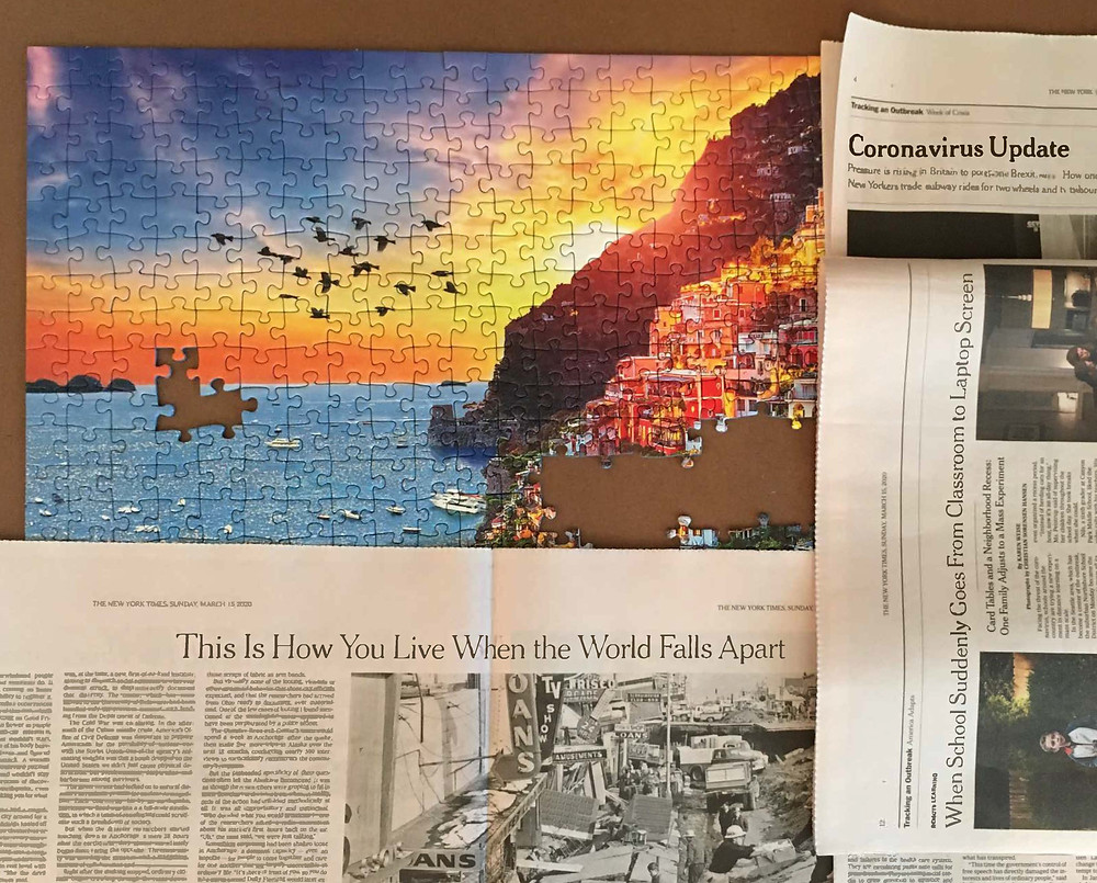 Puzzle with newspaper headlines on coronavirus juxtaposed