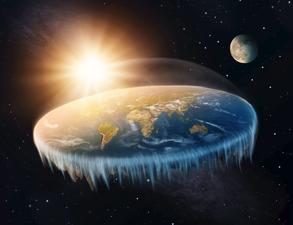 Artistic rendering of Earth as a flat disk, rather than a sphere.