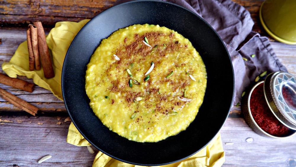 Saffron & Rosewater Rice Pudding - Sholezard