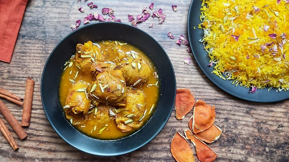 Shirin Polo with Chicken and Orange Stew
