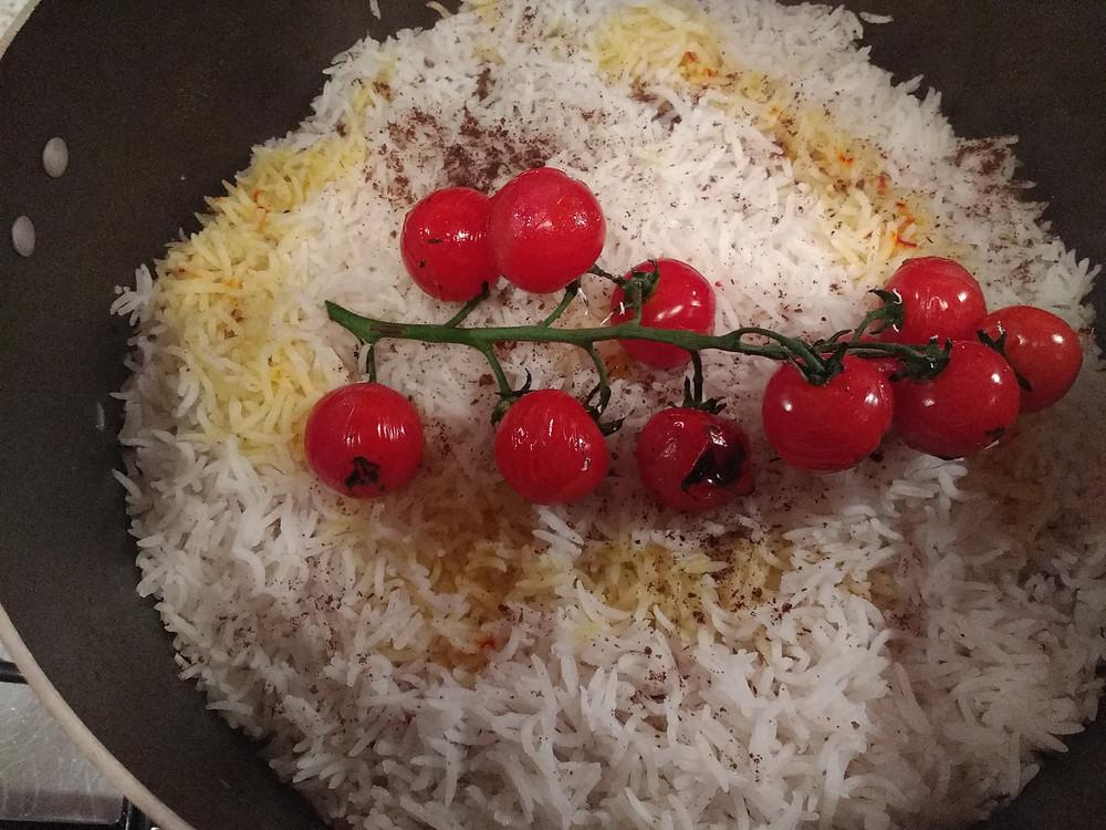 Saffron rice - somak - tomatoes