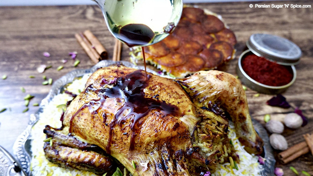 Stuffed Roast Chicken & Sour Cherry Stew - Morgh-e-Shikam Por ba Khoresht-e-Albaloo