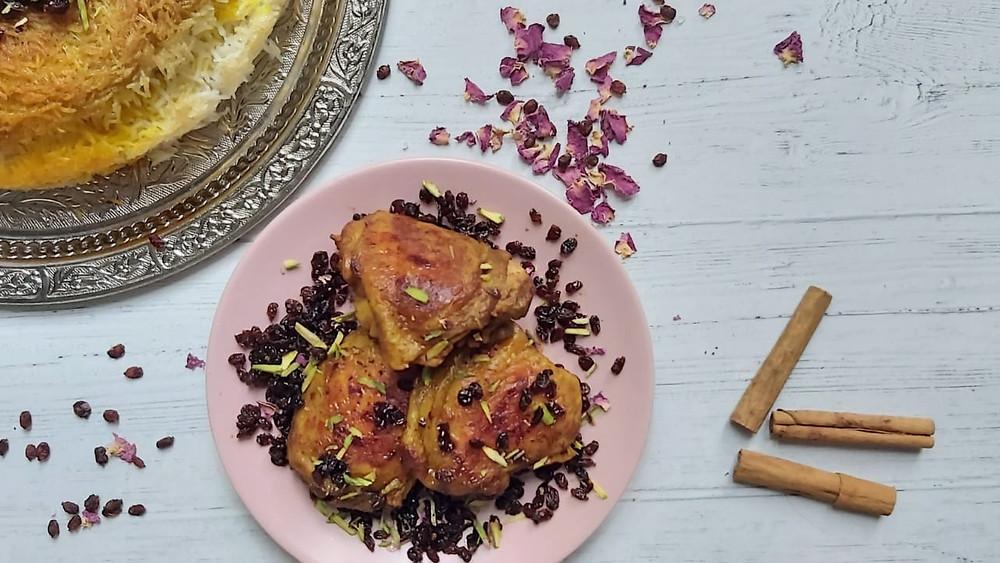 Chicken Stew with Barberries - Koresht-e-Morgh ba zereshk va kalal-e-peste