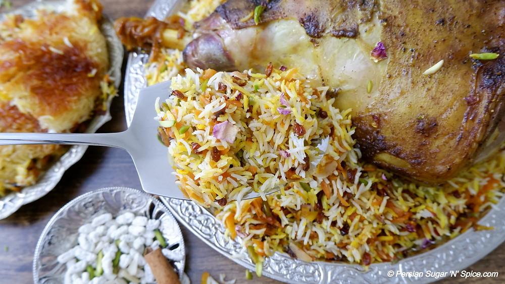 Roast Lamb and Carrot Pilaf - Havij Polo Ba Raan-e-Goosfand