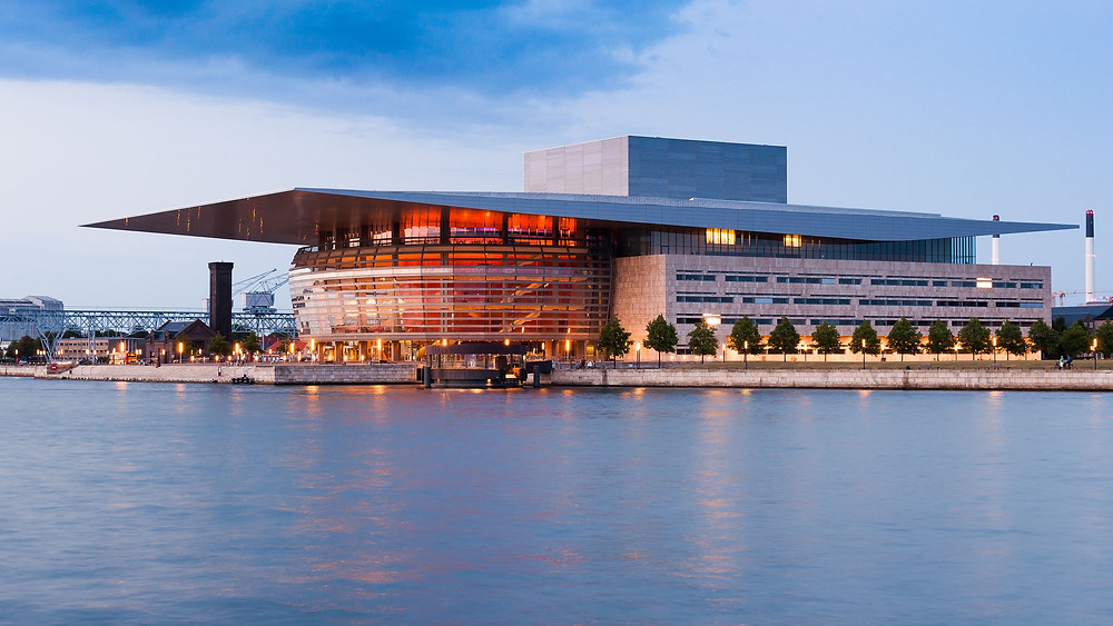 The Copenhagen Opera House (Operaen) in Copenhagen Holmen, Denmark.