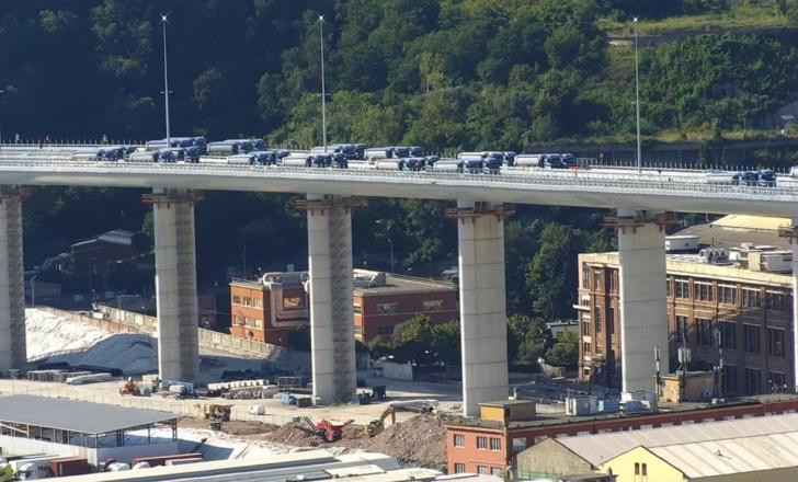 Genoa new bridge truck load testing
