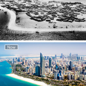 Before and After pictures of urban cities , showing the huge economical development