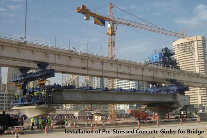 Installation of pre-stressed concrete girders for a Bridge