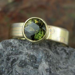 Green Sapphire Mokume ring