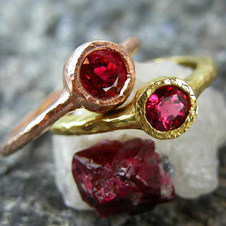 Spinel Hammered rings