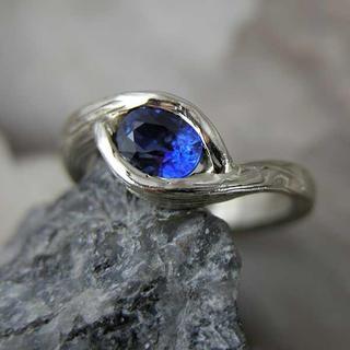 Sapphire Mokume ring